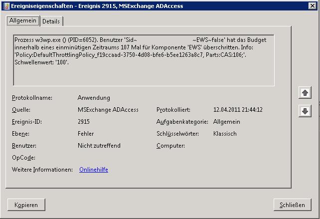 Exchange 2010: Event 2915, Benutzerdefinierte Throttling