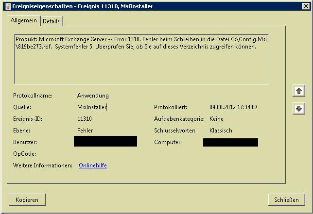 Exchange 2010: Installation von Service Pack 2 nicht möglich