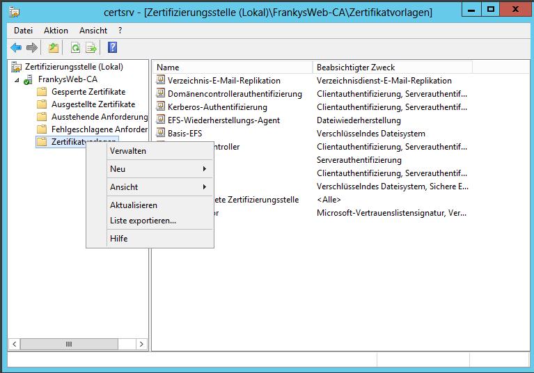 Exchange 2013: Zertifikat und interne Zertifizierungsstelle