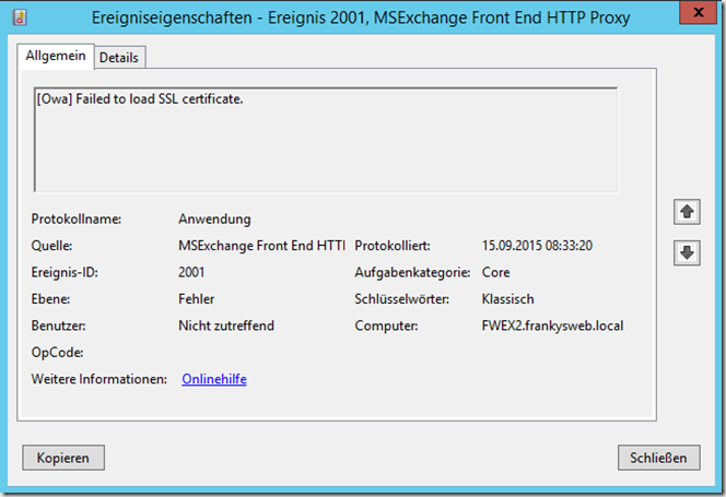 Exchange Server: EventID 2001 Failed to load SSL certificate