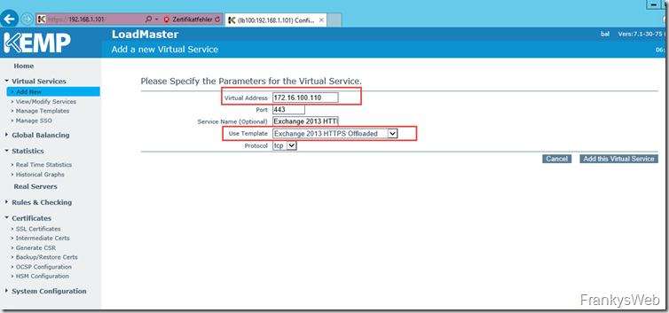 Kemp Virtual Service