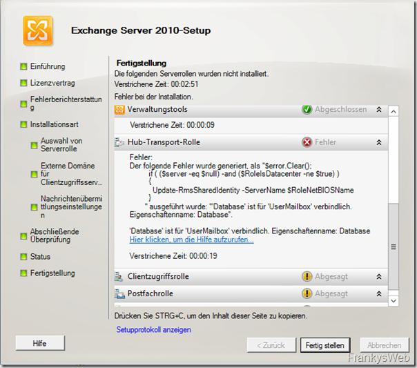 'Database' ist für 'UserMailbox' verbindlich