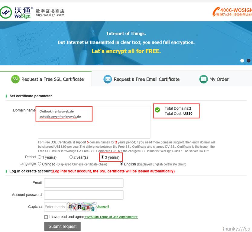 Kostenlose SAN-Zertifikate mit 3 Jahren Laufzeit