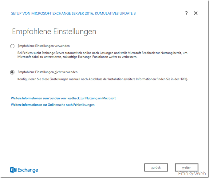 HowTo: Installation Exchange 2016 auf Windows Server 2016
