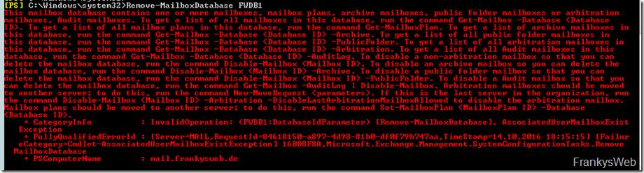 Fehler beim Entfernen einer Datenbank