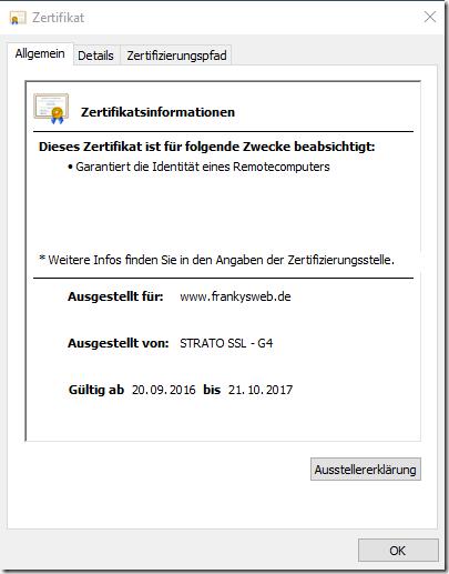 FrankysWeb Zertifikat