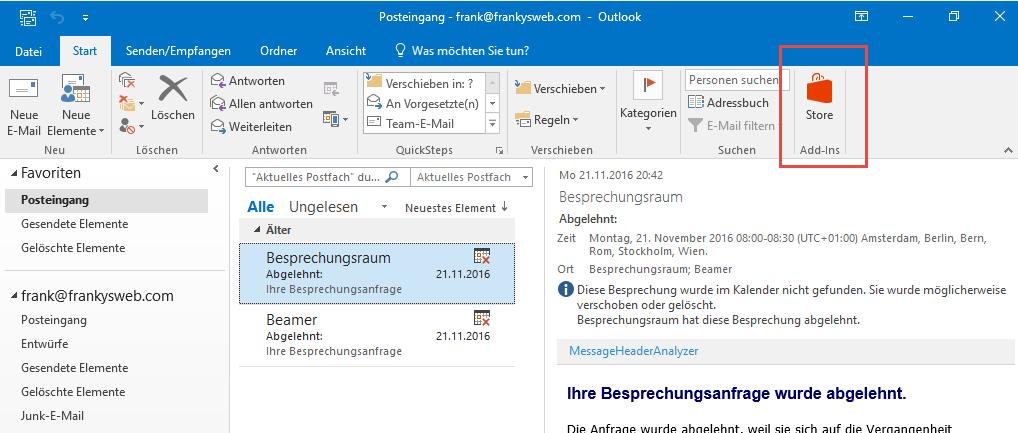 Outlook 2016 Schaltflächen Funktionen Deaktivieren