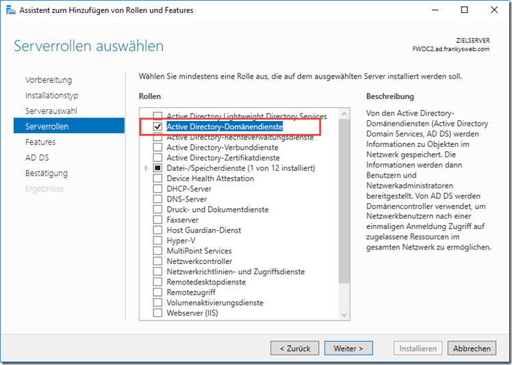 Active Directory Rolle