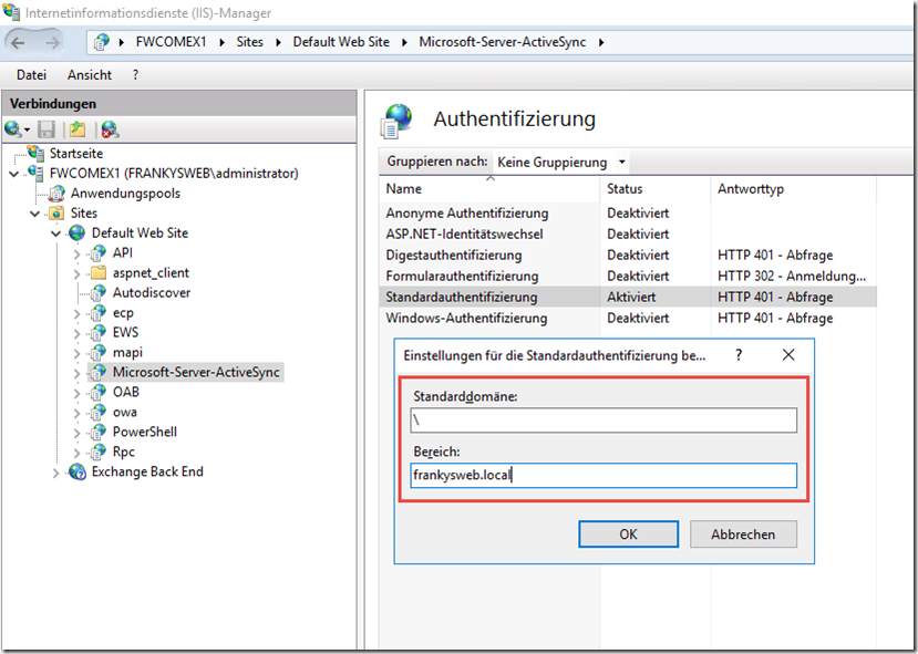ActiveSync ohne Domain