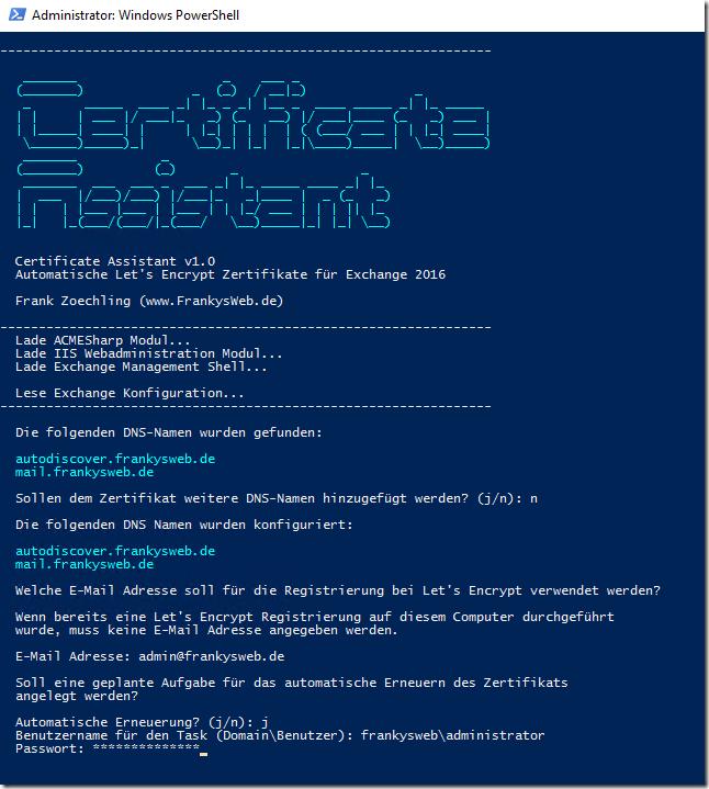 Exchange 2016: Zertifikatsassistent für Let\'s Encrypt - Frankys Web