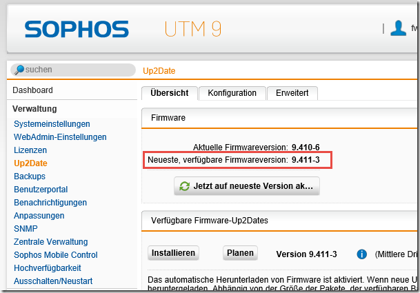 Sophos UTM Update