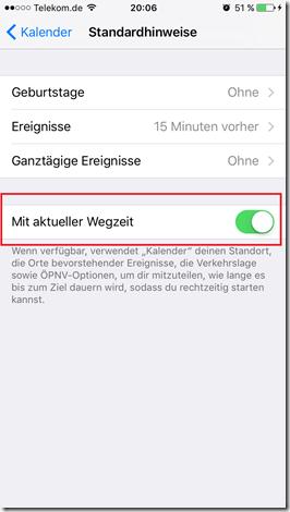 iOS Wegzeit
