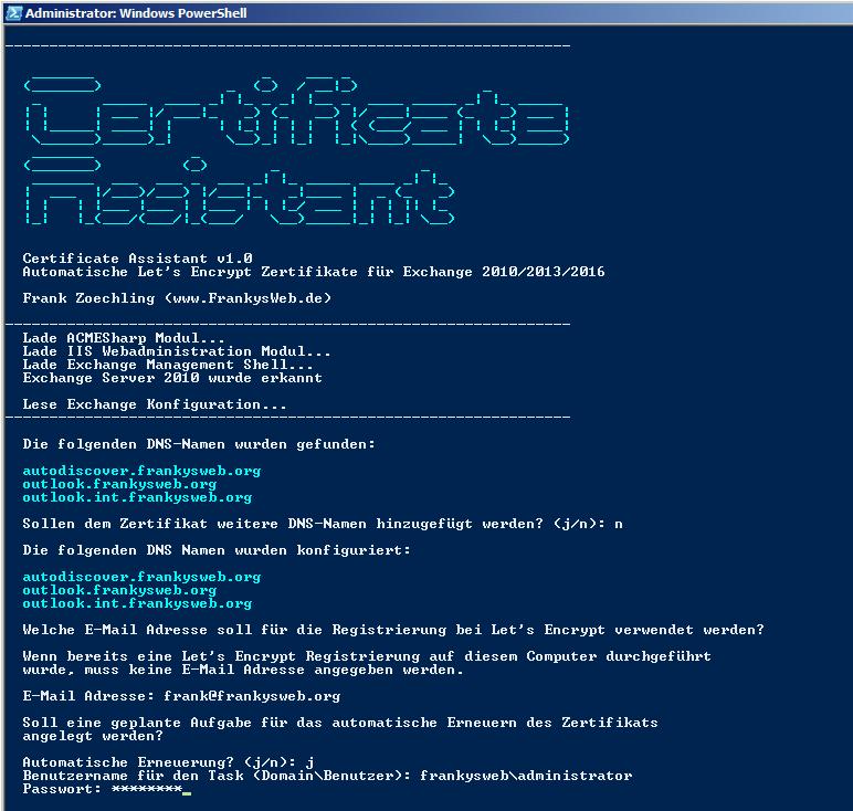 Exchange 2010: Zertifikate von Let\'s Encrypt nutzen (Teil 2 ...