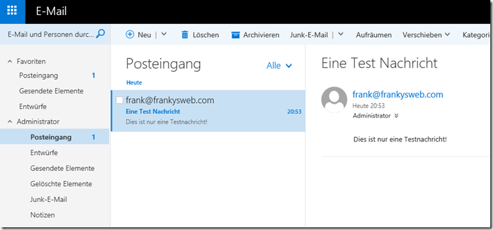 E-Mail PickUp Verzeichnis