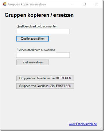 Active Directory Gruppen von Benutzer zu Benutzer kopieren