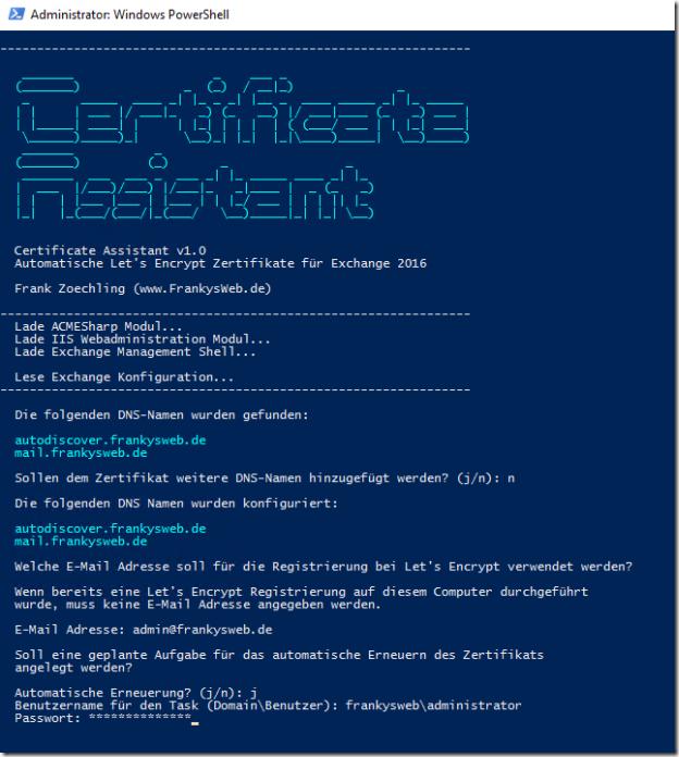 Neue Version des Exchange Zertifikatsassistent für Let's Encrypt