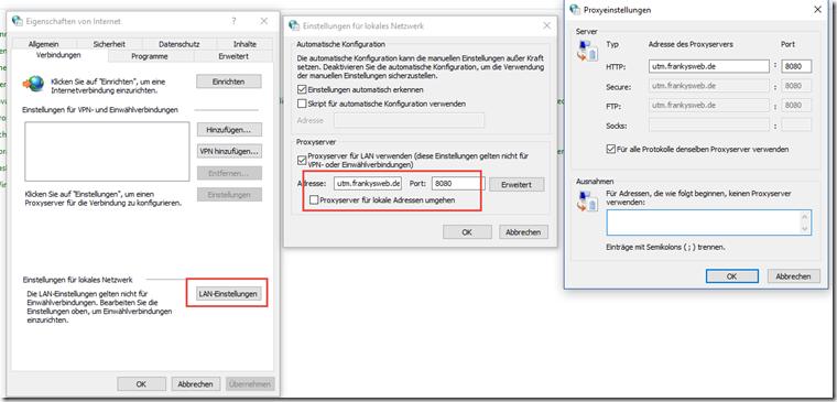Internet Explorer Proxy Einstellungen