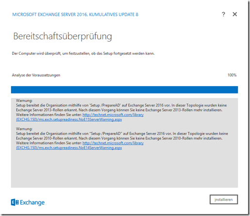 Installation Exchange 2016 CU8 auf Server 2016