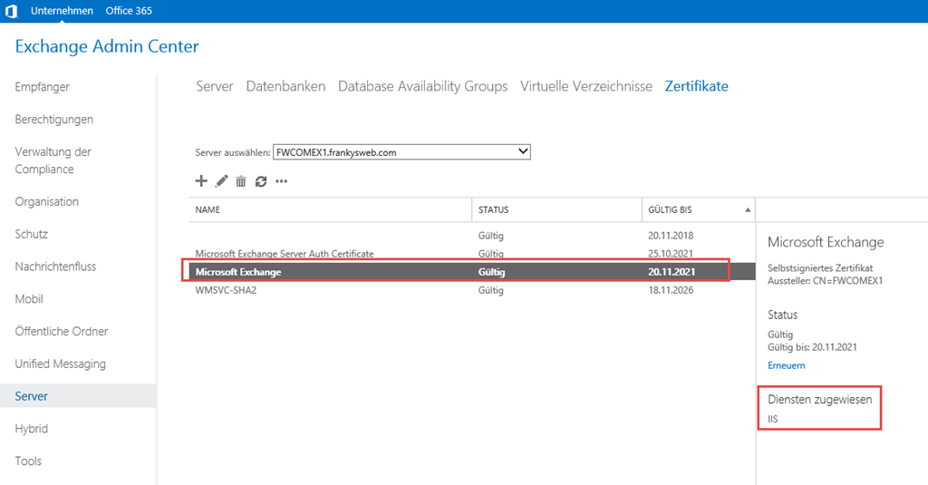 Exchange 2016: Backend Zertifikat neu erstellen - Frankys Web