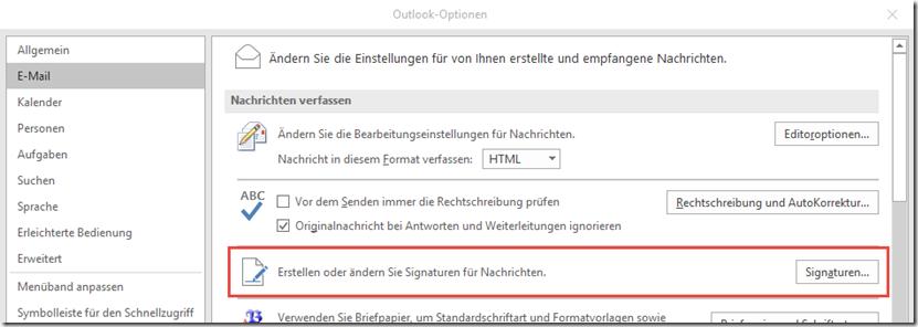 Outlook Signaturen im Postfach speichern–Unterstützung erforderlich