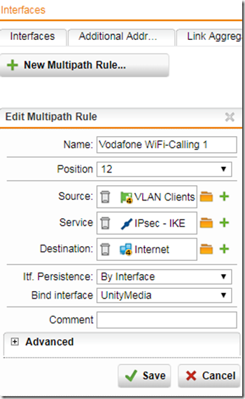 Vodafone WiFi-Calling mittels Sophos UTM 9