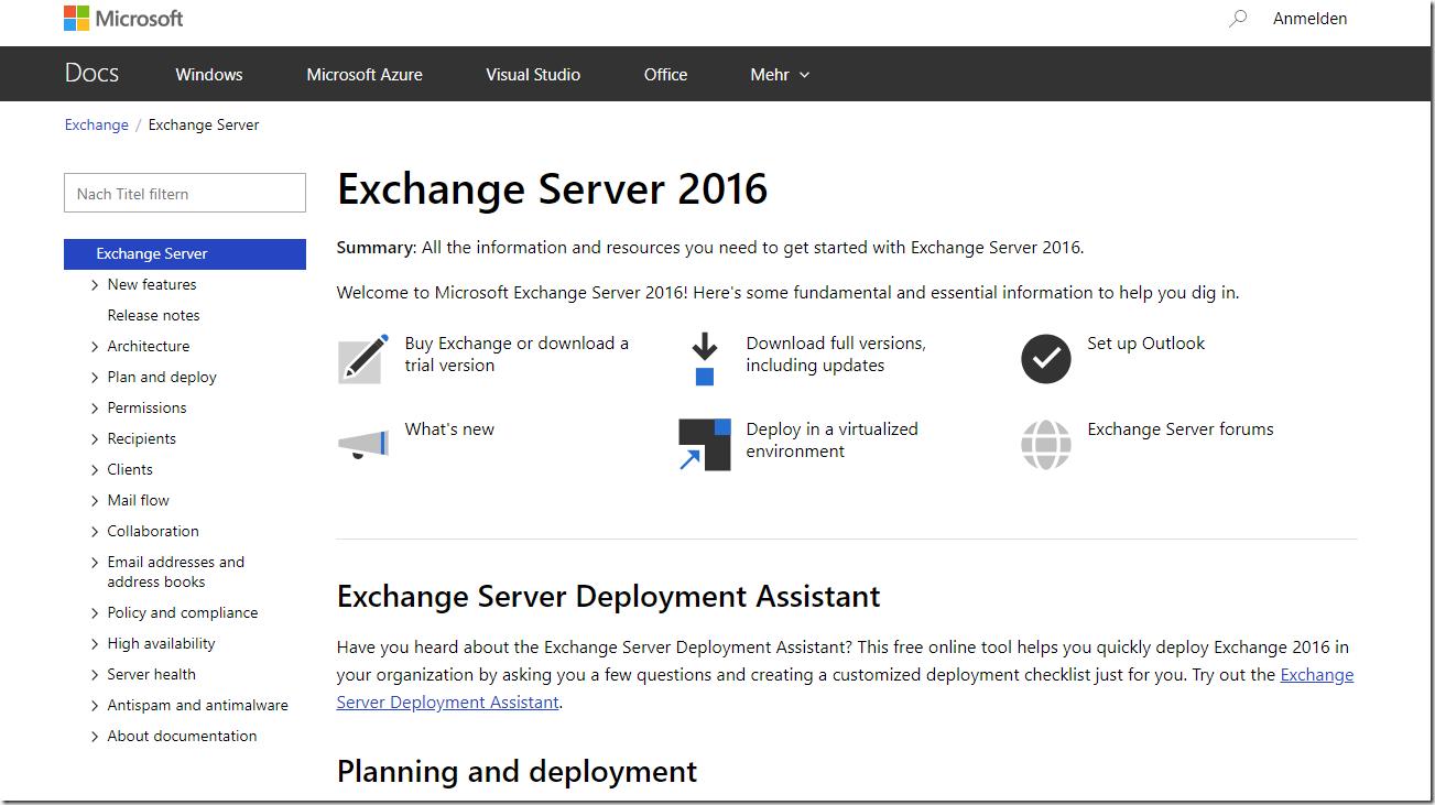 Exchange Server 2016: Dokumentation unter neuer URL verfügbar
