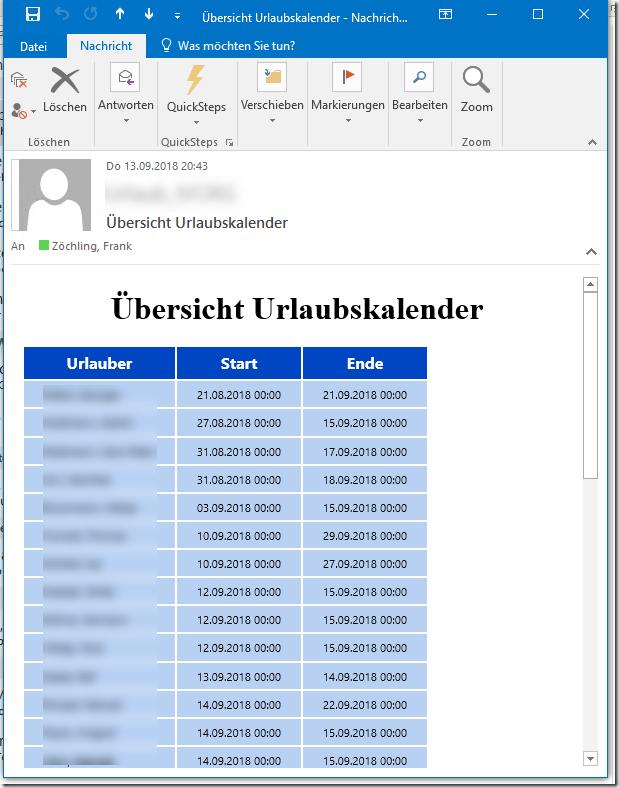 Exchange: Übersicht eines Kalenders per Mail versenden