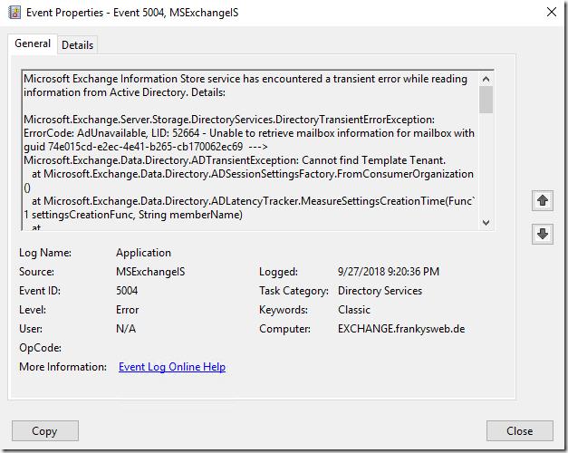 KB4457127 sorgt für Probleme auf DCs in Verbindung mit Exchange