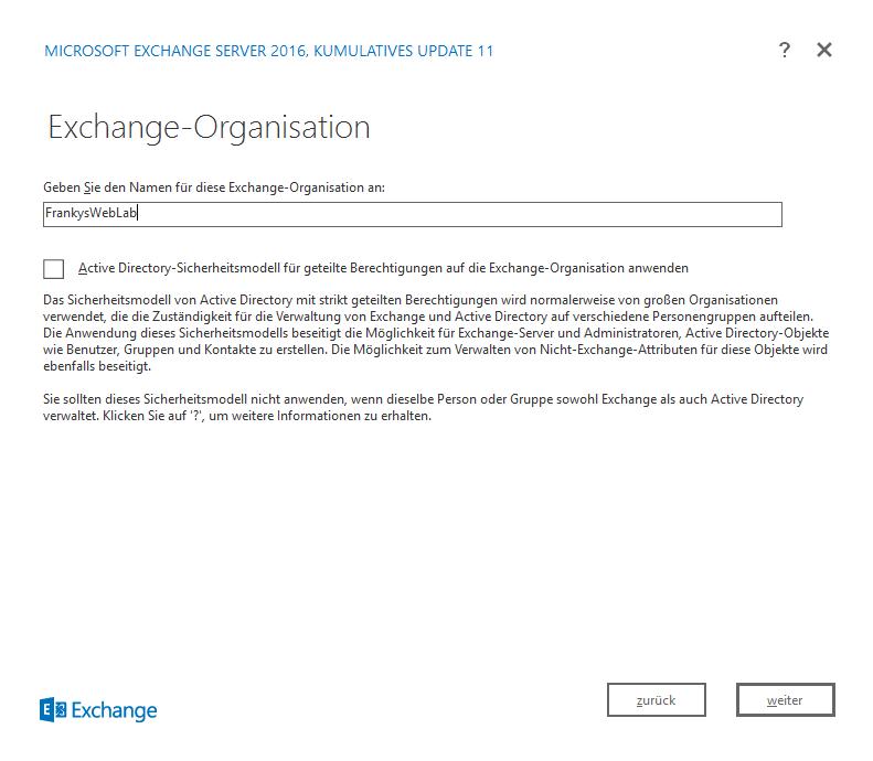 HowTo: Installation Exchange 2016 CU11 auf Server 2016 - Frankys Web