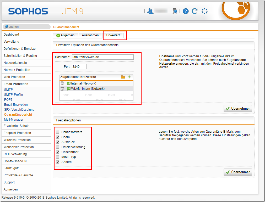 Sophos UTM: Konfiguration der Email Protection für Exchange