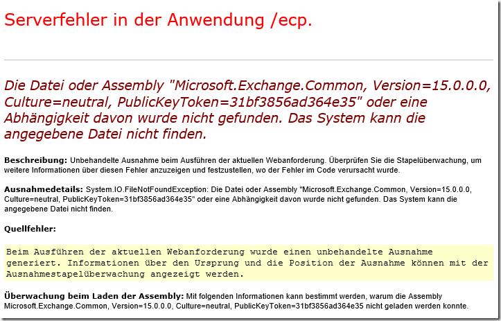 Exchange 2016: Serverfehler in Anwendung (OWA und/oder ECP)