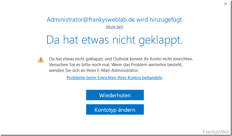 Exchange Migration: Probleme mit der Outlook Verbindung