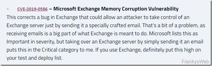Sicherheitsupdate für Exchange Server 2016 / 2019 (Januar 2019)