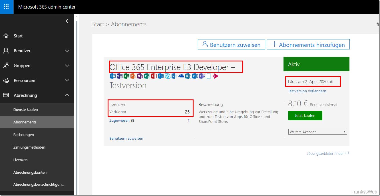 QuickTip: 25 Office 365 E3 (Developer) Pläne kostenlos für Entwicklung und Tests