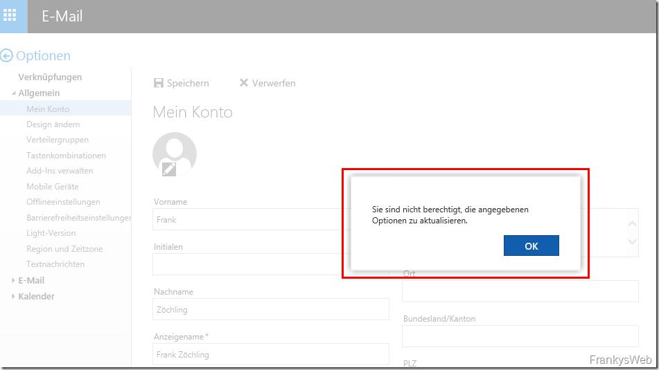 Exchange 2016: Verhindern das Benutzer ihr AD Konto verändern