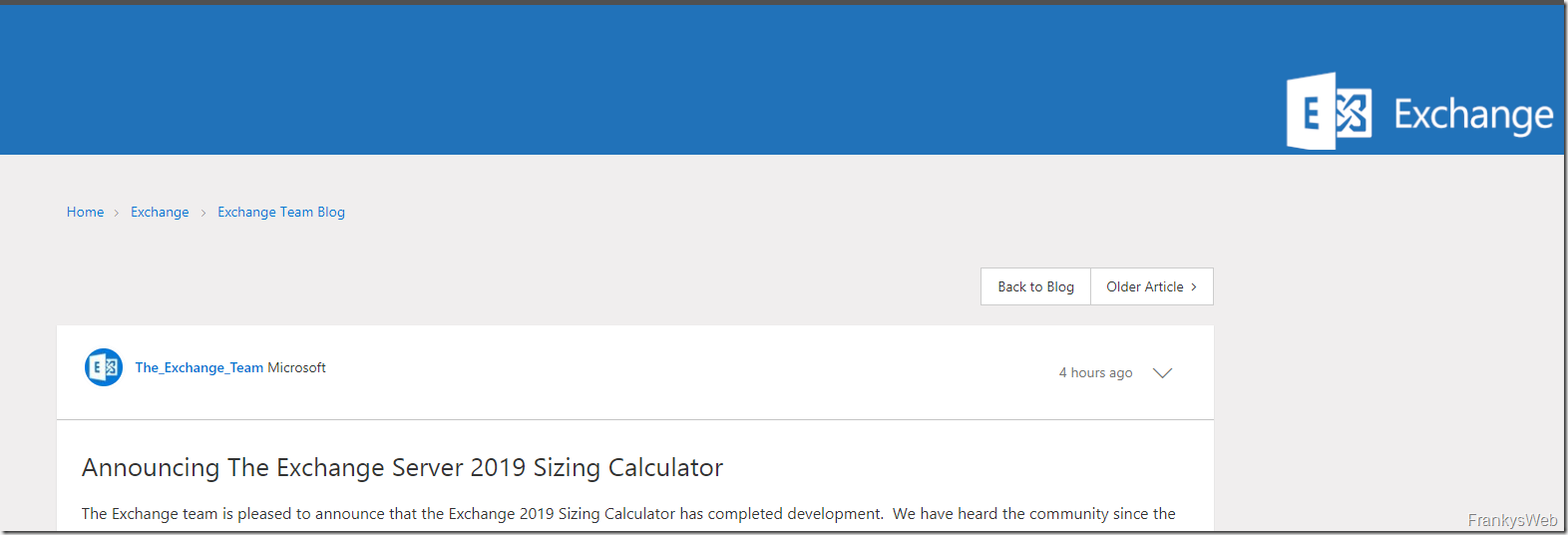 Exchange 2019 Sizing Calculator angekündigt