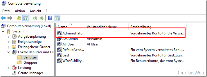 Admin Host Administrator Konto