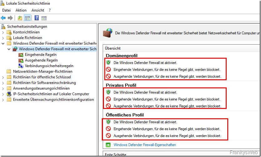 Windows Firewall Sicherheit