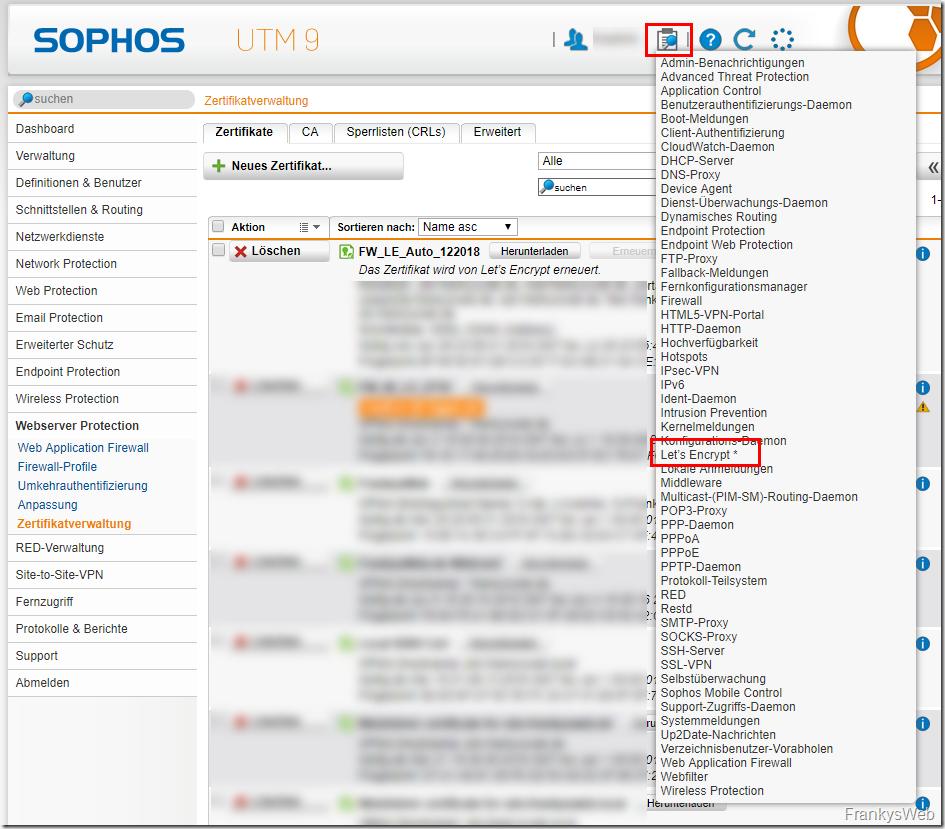Sophos Let's Encrypt Live Log