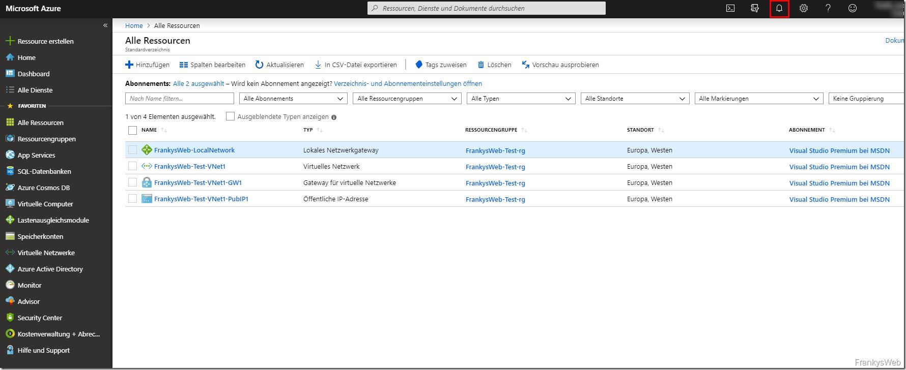 Azure lokales Netzwerkgateway