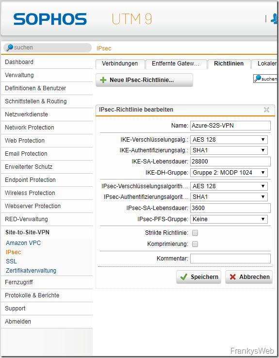 Sophos UTM IPsec Richtlinie