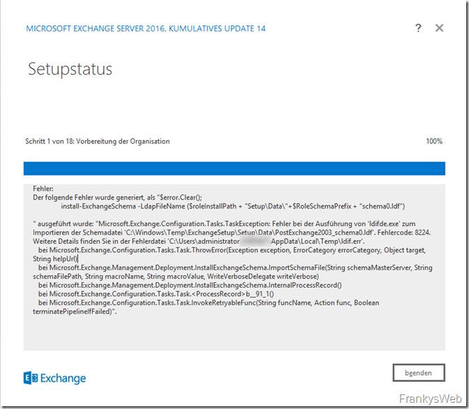 Exchange CU Installation bricht mit Fehler beim Schema Update ab