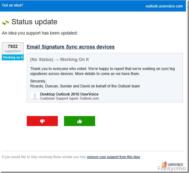 Outlook Signaturen als Bestandteil der Mailbox: Feature wird entwickelt
