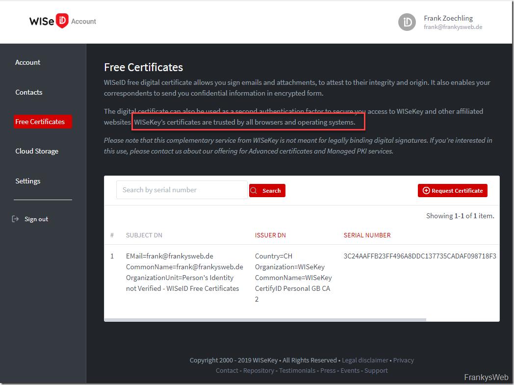 WISeID S/MIME Zertifikat