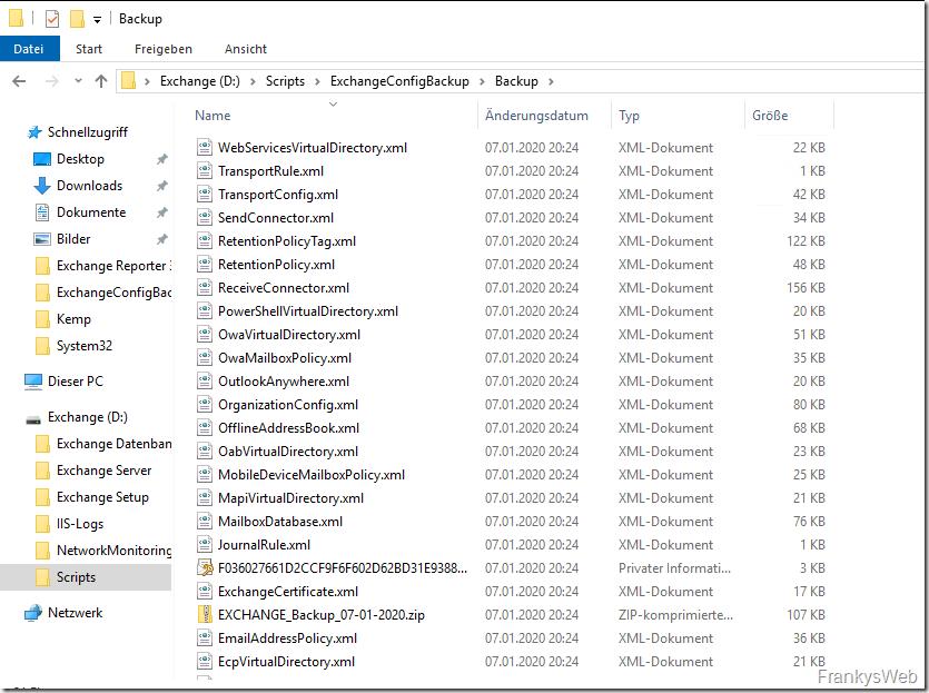 Exchange Server: Backup der Konfiguration erstellen
