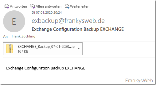 Exchange Server: Backup der Konfiguration erstellen