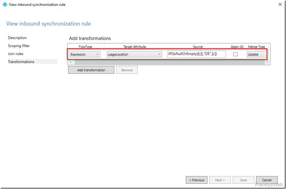 Microsoft 365: Inbound synchronization rule