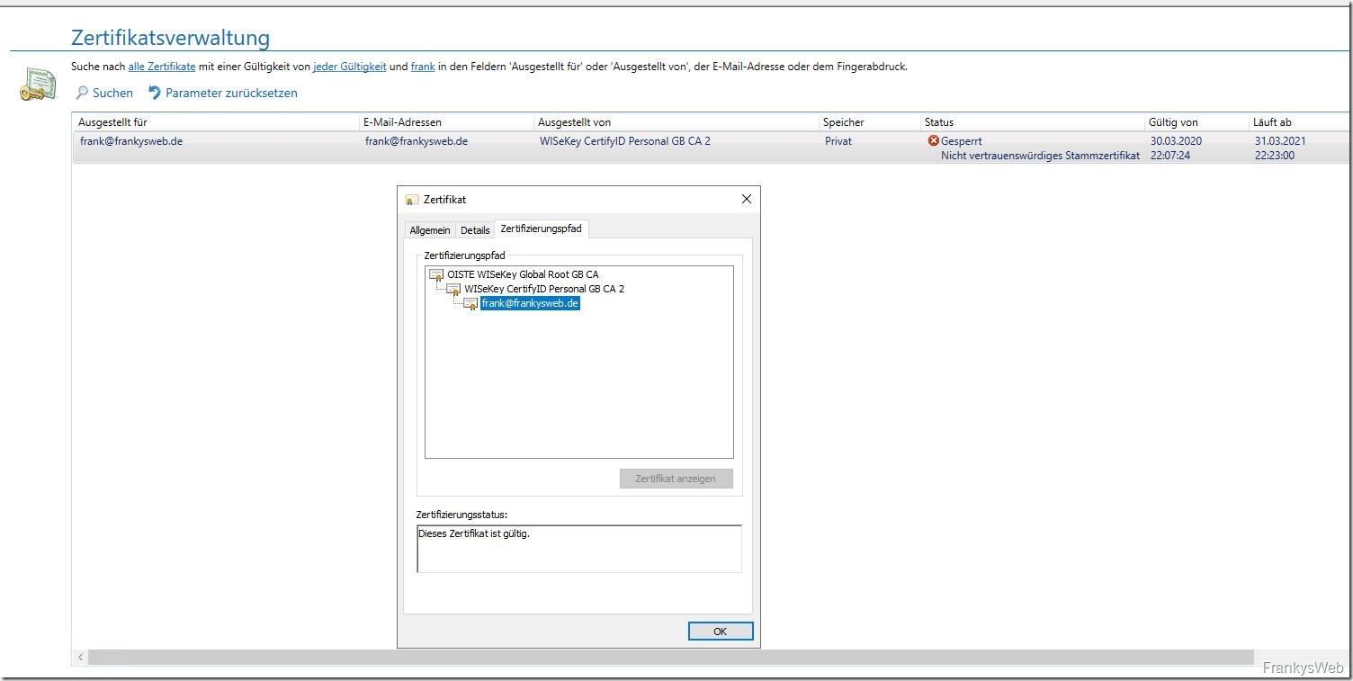 NoSpamProxy S/MIME Zertifikat