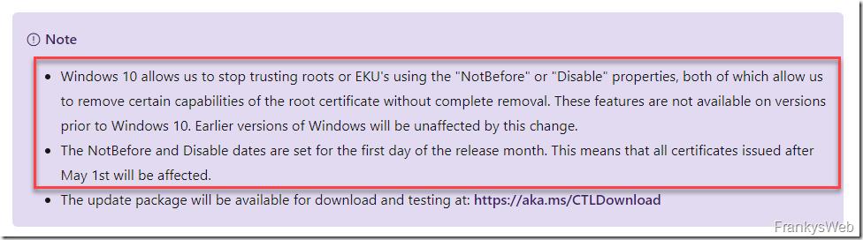 Microsoft NotBefore bzw. ExplicitDistrust
