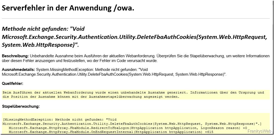 Exchange 2016: Serverfehler in Anwendung, OWA und ECP nicht aufrufbar